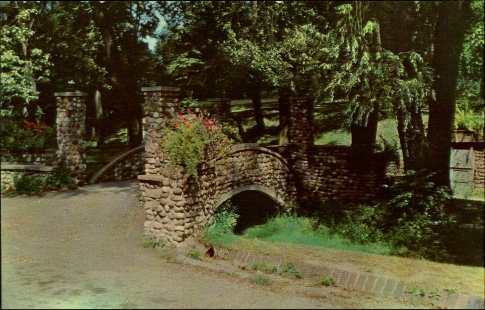 Rustic stone arch bridge ~ Glen Miller Park Richmond Indiana ~ 1960s postcard