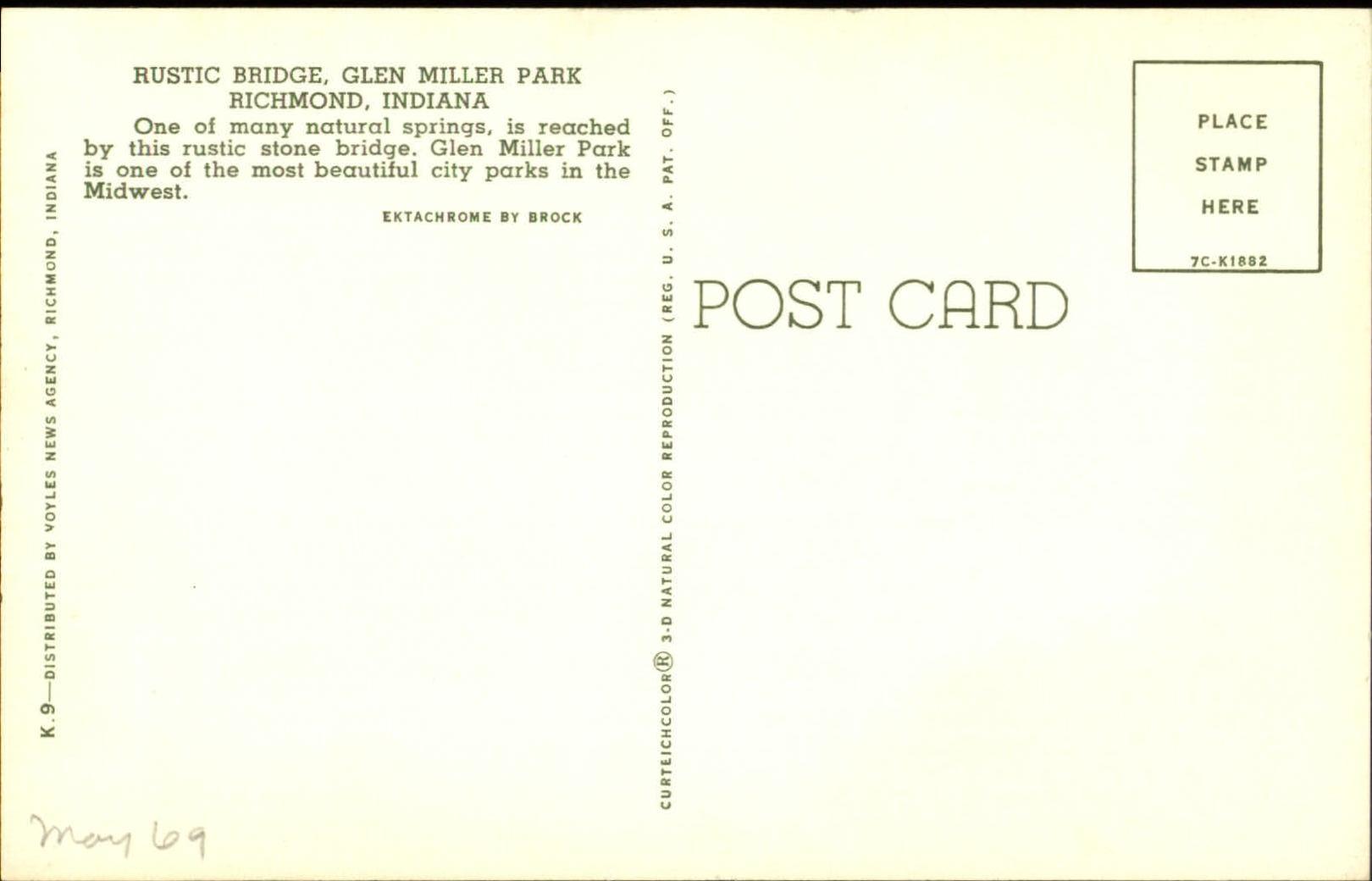 Rustic-stone-arch-bridge-Glen-Miller-Park-Richmond-Indiana-1960s-postcard thumbnail 2