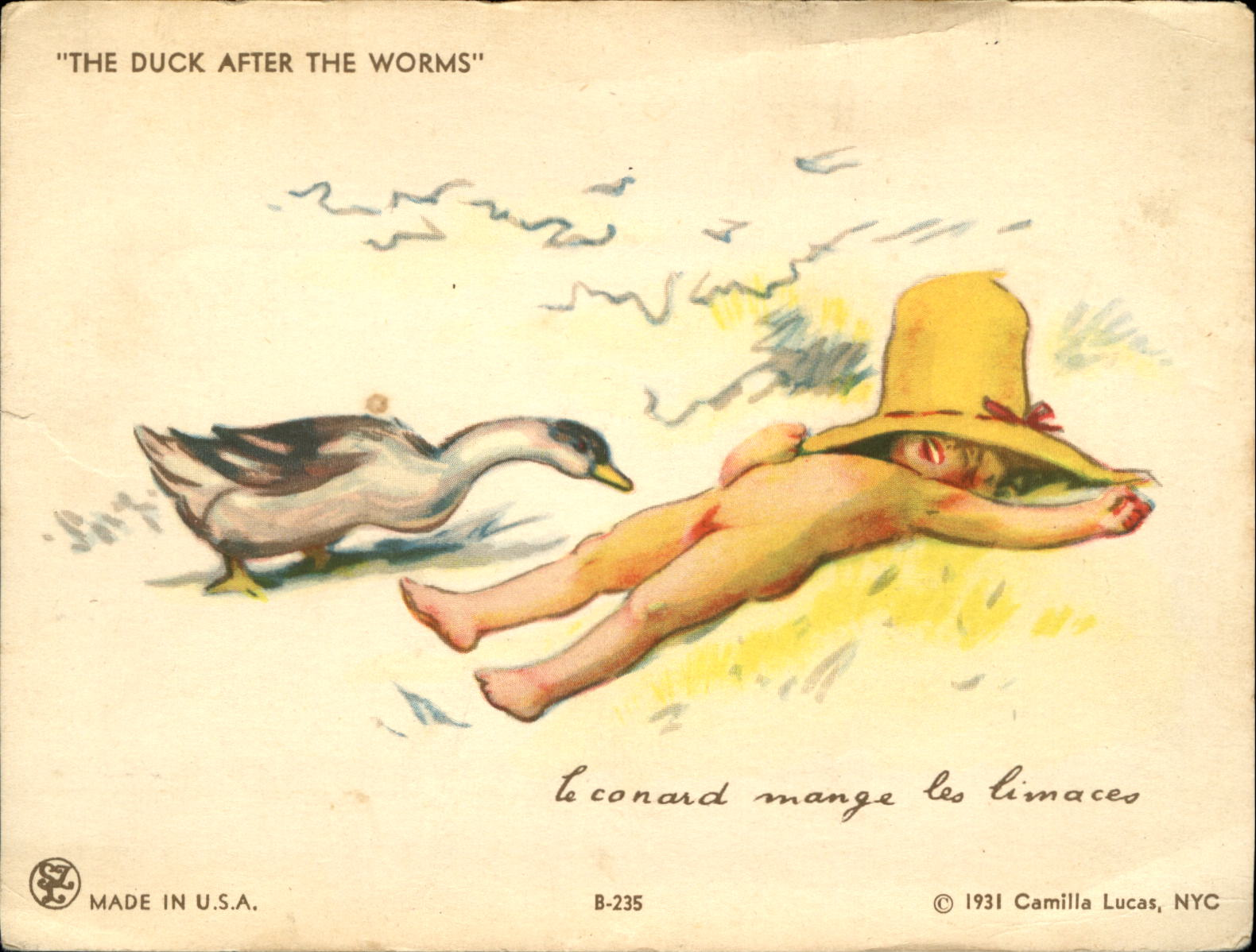 Duck After The Worms Naked Nude Boy Penis Exposed Humor Comic