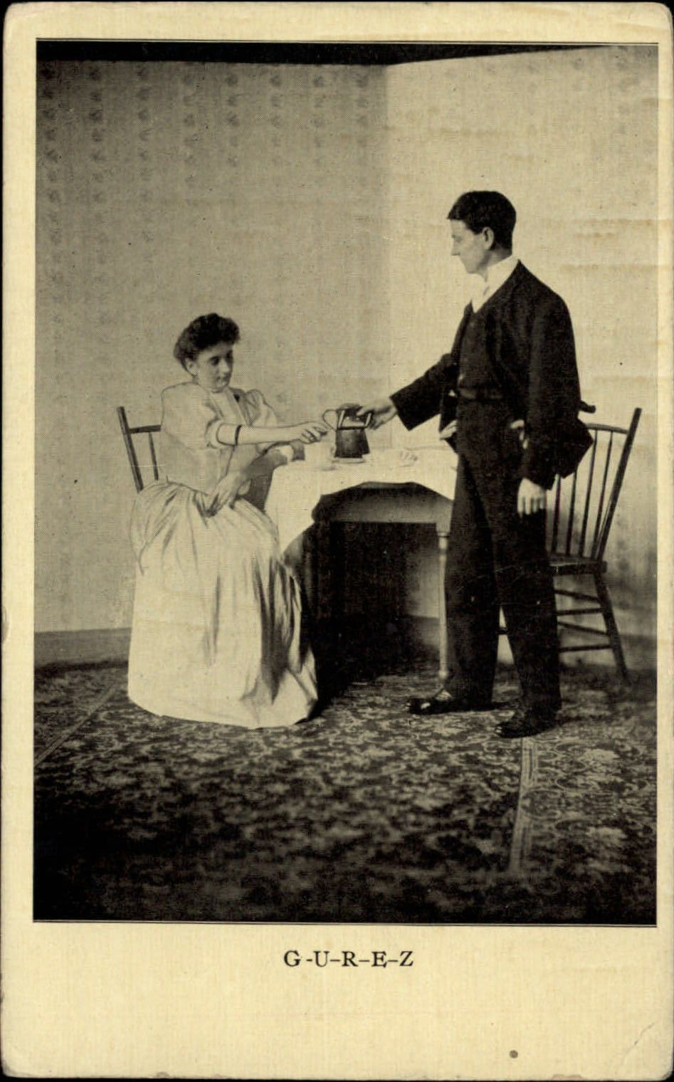 GUREZ-tea-Kashmir-Edwardian-couple-vintage-postcard